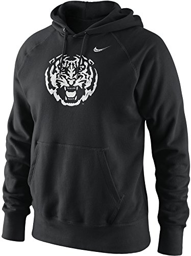 NIKE LSU Louisiana State Tigers Painted Head Logo Cotton Fleece Pullover Hoodie (Black, Medium) -