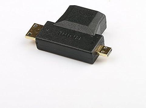 Micro-HDMI to HDMI 2 in 1 wawpi Adapter Golden Plated Mini-HDMI
