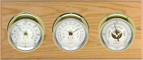 Maximum Montauk 3-Instrument Weather Station Silver Dial with Brass Case Instruments on Oak or Mahogany Panel -
