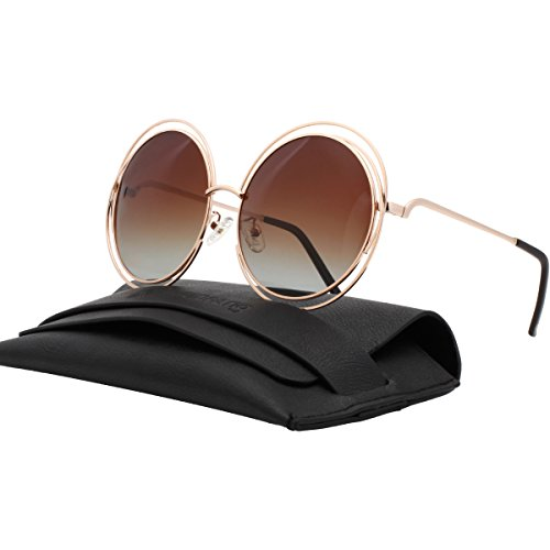 VIVIENFANG Full Metal Double Circle Wire Frame Oversized Round Sunglasses Polarized 86613A Gold