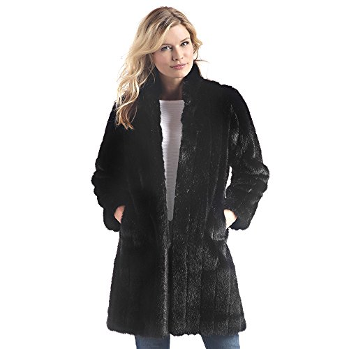 Donna Salyers' Fabulous-Furs Women's Faux Fur Stroller Coat, Black Mink, (Black Mink Fur Coat)