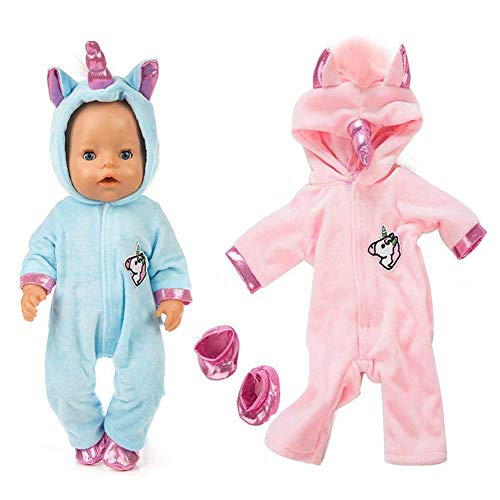 ebuddy Unicorn Jumpsuit Sets Include Sky Blue and Pink Doll Clothes 2 Pairs Shoes for 43 cm New Born Baby Dolls/ 15 inch Bitty Baby Dolls (Pink+Blue)