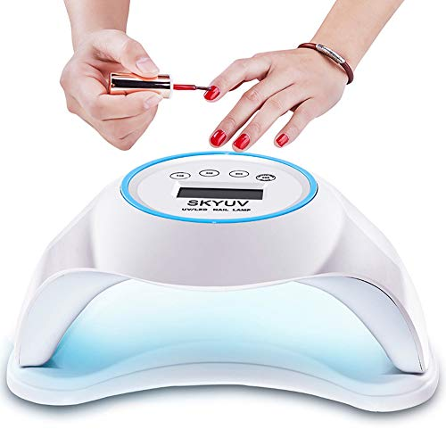48W LED Nail Lamp, SKYUV Portable Nail Dryer Manicure/Pedicure Curing Lamp with10s 30s 60s 99s Timer Plus Manicure Gift Suitable for Fingernails and Toenails, Home and Salon(White)