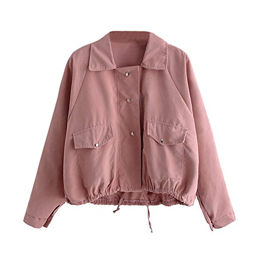 GOVOW Pocket Jacket Women Travel Puffer Autumn Fashion Short Pink Button Coat Cardigan on Clearance(US:12/CN:L,Pink) for $<!--$3.23-->