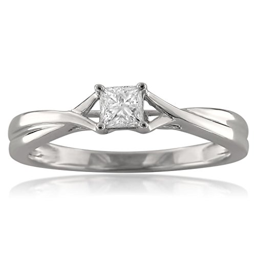 1/4 Ct Princess Solitaire Ring (14k White Gold Princess-cut Solitaire Diamond Engagement Ring (1/4 cttw, I-J, I1-I2), Size 5.5)