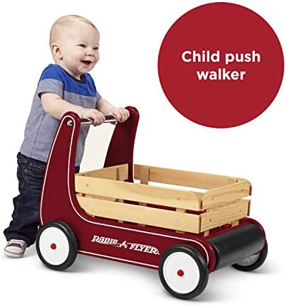 41tCIsrULzL. AC - Radio Flyer Classic Walker Wagon, Sit To Stand Toddler Toy, Wood Walker, Red, Model Number: 612s