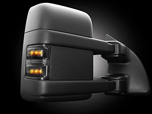 (Ford 08-15 F250/F350 Superduty Side Mirror Lenses (2-Piece Set) w/ AMBER LED Running Lights & Turn Signals - Smoked Lens)