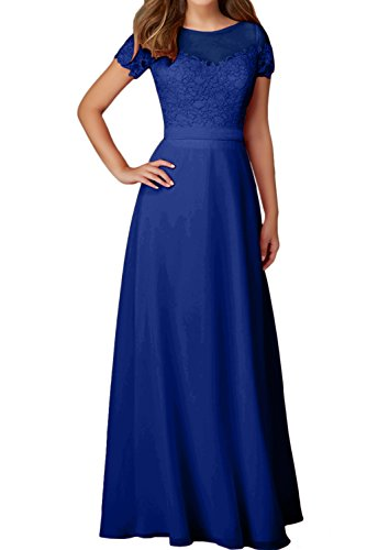 Aermeln Mit Ballkleid Ivydressing Abendkleider Damen Elegant Royalblau Rundkragen Spitze Festkleider wqtHIZ