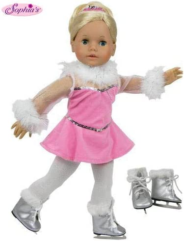 "White Ice Skates with Fur Trim Winter fit 18/"" American Girl Doll Clothes Shoes"