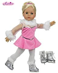Beautiful Pink Ice Skating Set comes with tights and skates. Fits most 18 Inch Dolls. 2013 Sophia's- All Rights Reserved Doll Not Includes