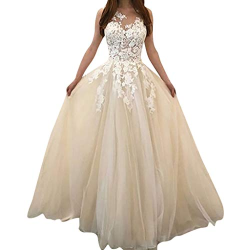Women Ball Gown Dress,Womens Lace Appplique Sleevless Prom Party Wedding Evening Dress Han Shi(White,5XL)