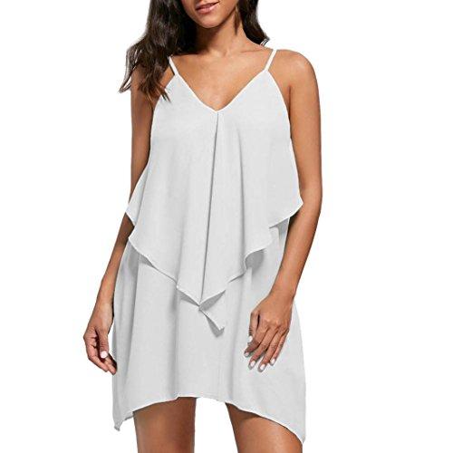 iOPQO Dress for Womens, Fashion Ladies Overlay Flower Ruffle V Neck Cami Mini -
