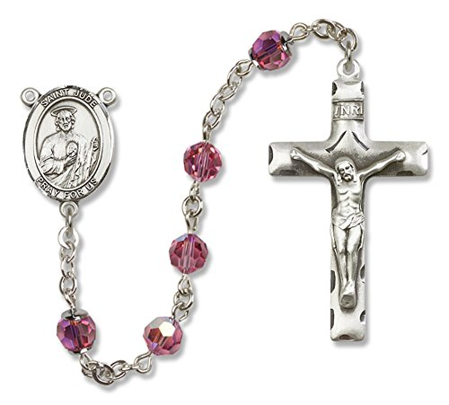 Bonyak Jewelry St. Jude Thaddeus Rosary in Sterling Silver with October Rose Swarovski Crystal Beads