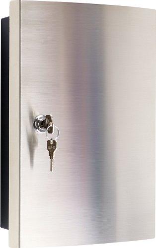 Schlüsselkasten mit Edelstahlfronttür gebürstet / Haky Box / Key Box / Schlüsselbox / Schlüsselschrank für 12 Schlüsselanhänger (inkl.)
