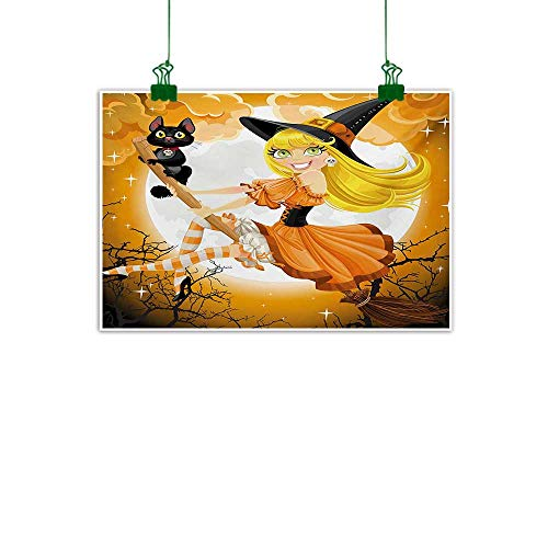 Unpremoon Halloween,Painting Cute Sexy Witch on a Broom with Baby Kitten and Hazy Moonlight Halloween Themed Kitchen Home Decorations Multicolor W 47