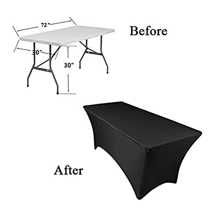 GFCC Spandex Fitted Stretchable Elastic Table Covers Stretch Tablecloth Wedding Party Banquet Tablecloth 8FT,Black