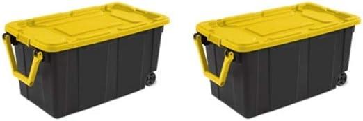 Wheeled Plastic Clear Storage Container Box 40 Gal 2 Pack Organizer //W Lid Bin