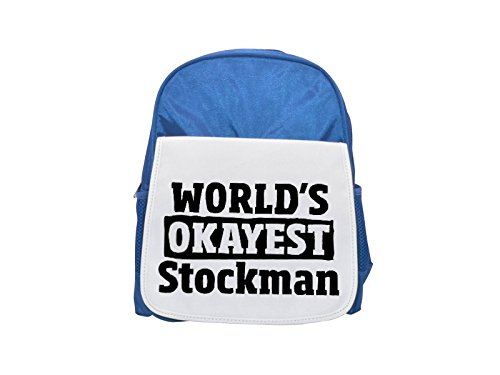 World's Okayest Stockman printed kid's blue backpack, Cute backpacks, cute small backpacks, cute black backpack, cool black backpack, fashion backpacks, large fashion backpacks, black fashion backpack