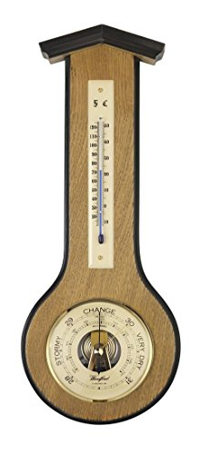 Light Brown/Cream Art Deco Barometer and Thermometer by Woodford by Woodford