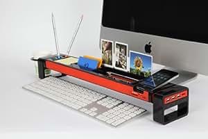 Cyanics iStick Multifunction Desktop Organizer computer desk accessories with 3 Port USB Hub Cup Holder Card Reader Letter Opener Paper Holder Storage Space for Stationery Items (Color: Black)