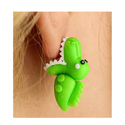 Crocodile Tassel - Lethez New Arrival Cute Crocodile Bite Ear Stud Dangle Earrings Handmade Polymer Clay Animal Earrings (Green)