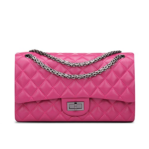 Crossbody a Quilted Handbag Women's Ainifeel Purse Hot Pink Bag Shoulder Hobo Leather Genuine q8BqO7w4F