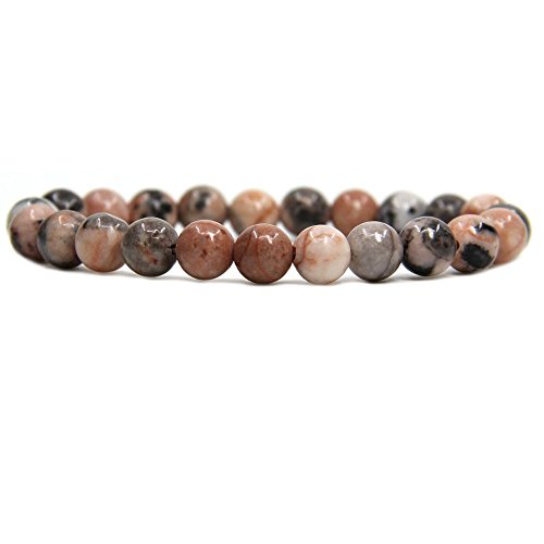 Amandastone Pink Zebra Jasper Gemstone 8mm Ball Beads Stretch Bracelet 7