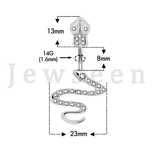 Jewseen CZ Crystal Surgical Stainless Steel Navel Rings Snake Belly Button Ring 14g Belly Piercing Body Jewelry