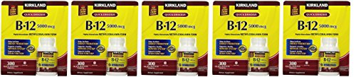Kirkland Signature Sublingual B-12 5000 mcg, 300 Tablets (5 Pack) by Kirkland Signature