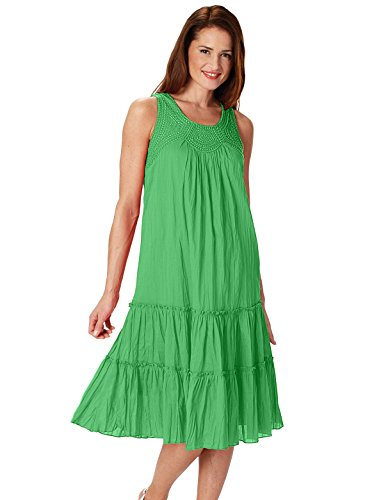 Carol Wright Gifts Flounce Dress, Green, Size Small Tier Flounce