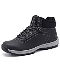 YIRUIYA Men Snow Boots Waterproof Winter Leather Sneaker Outdoor Warm Shoes
