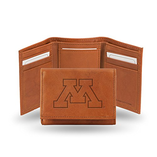 - Rico Industries NCAA Minnesota Golden Gophers Embossed Leather Trifold Wallet, Tan