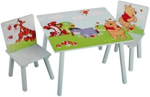Disney Winnie Pooh Tisch mit Stühlen 60x60cm Holz Kindersitzgruppe Kindersitzgarnitur