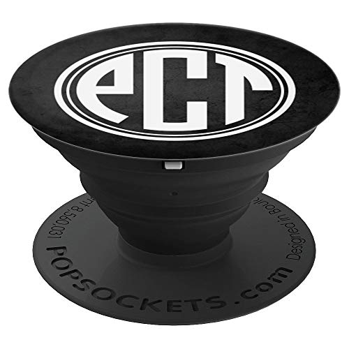 PCT Monogram Phone Grip Initials PCT or PTC on Black - PopSockets Grip and Stand for Phones and Tablets