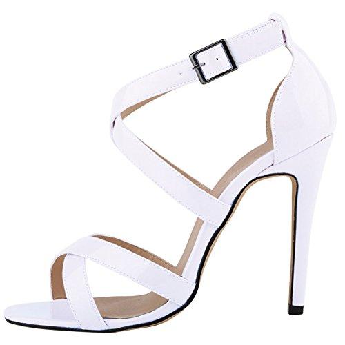 fereshte Womens High Heel Open Toe Across Anckle Strap Sandal White K8nkWcHJM