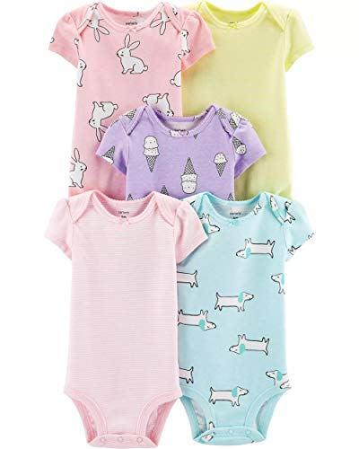 Carter's Baby Girls 5 Pack Bodysuit Set, Ice Cream/Animals, 9 Months