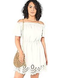 Romwe - Vestido de Fiesta para Mujer, Talla Grande, con Tirantes en los Hombros