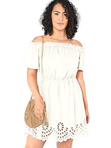 ROMWE Women's Plus Size Off The Shoulder Hollowed Out Scallop Hem Party Short Dresses White 3X Plus