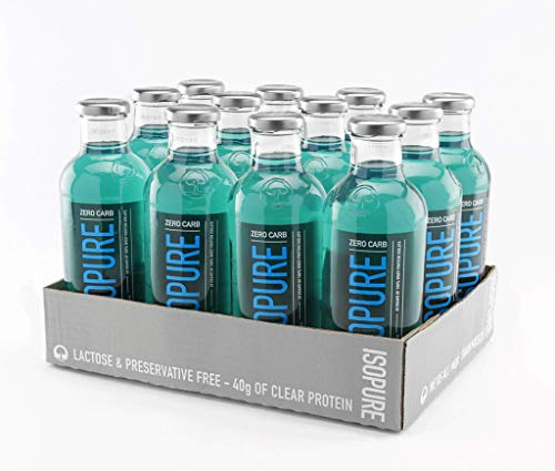 Isopure 40g Protein, Zero Carb Ready-to-Drink- Blue Raspberry, 20 Ounce (Pack of 12) ...