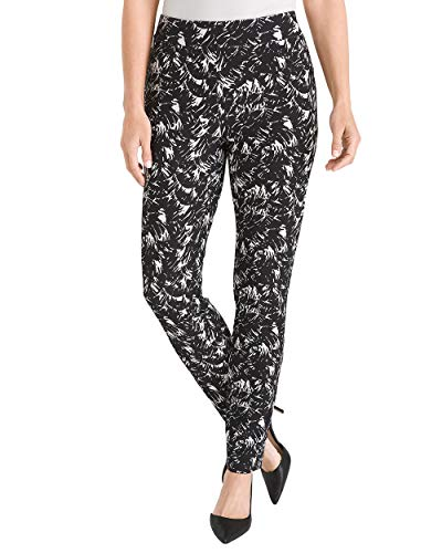 Chico's Women's Travelers Collection Printed Crepe Ankle Pants Size 8 M (1 REG) Black/White