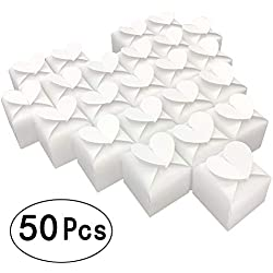 White Cube Candy Boxes Set Heart Thank You Treat Boxes Bulk Wedding Favors Baby Shower Party Supplies 2x2x2 Inch, 50pc