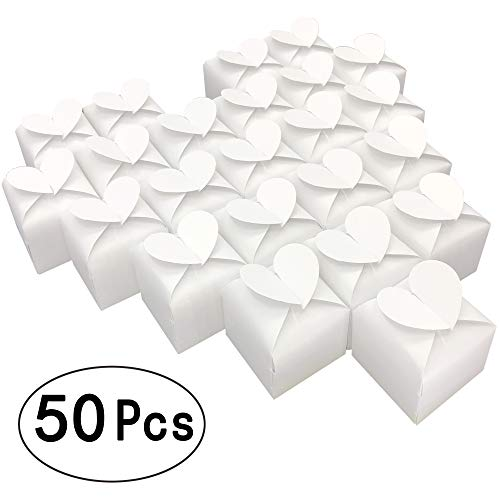 White Party Favors Boxes Sweet Heart Candy Treat Boxes Gift Box Bulk Wedding Party Baby Shower Valentine's Day Party Favors Supplies Boxes, 2x2x2 inch, 50pc -