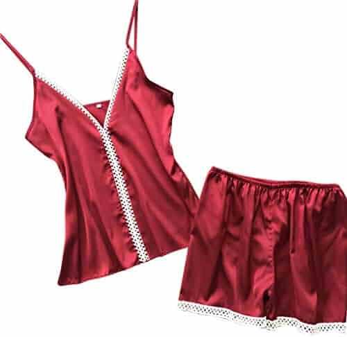 349f8475a151 ALLYOUNG Women's Sexy Satin Sling Sleepwear Lingerie Lace Nightwear  Underwear Set