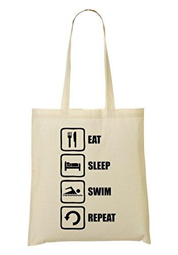 à provisions Sleep Black Funny Fourre Sac tout Swim Repeat Graphic Eat Sac S7nHv17