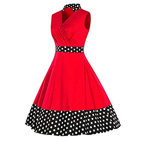 7439176d25eb Copercn Women's Ladies Vintage Retro Dot Patchwork V-Neck Stand Collar  Sleeveless Wrap Waist Midi