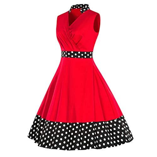 Audrey Tank - Sagton Tank Dress for Women Audrey Hepburn Rockabilly Vintage Dress (Red,S)