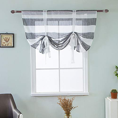 Gotian Beauty Roman Curtain Short Sheer Tie Up Window Balloon Shade Sheer Voile - Cafe, Balcony, Living Room, Bathroom, Bedroom, Kitchen (Gray) ()