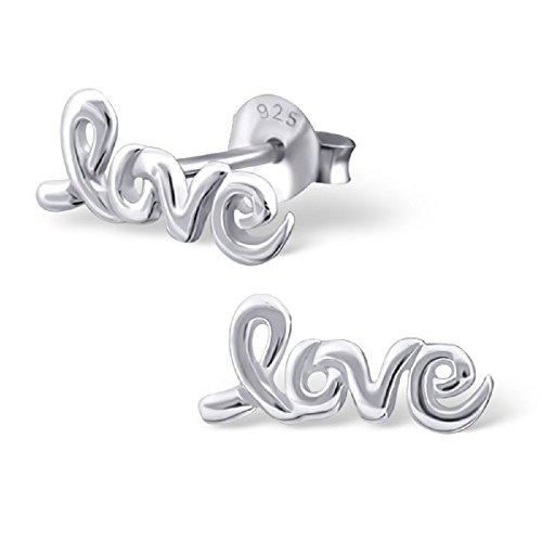 925 Sterling Silver LOVE Stud Earrings 16542 by ICYROSE