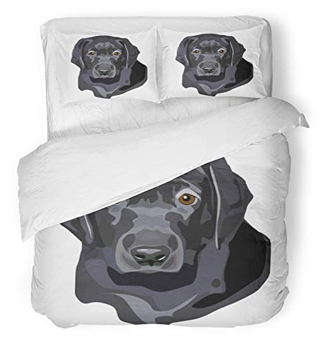 Emvency 3 Piece Duvet Cover Set Brushed Microfiber Fabric Breathable Labrador of Black Lab Puppy Portrait Dog Retriever Head Drawing Adorable Animal Bedding Set with 2 Pillow Covers Twin Size