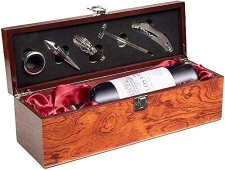 Set de Vino de Regalo con 1 Botella de Vino Tinto Cosecha 2018 Los Vascos Red Cabernet Sauvignon - en Caja de Vino con Set de Sommelier